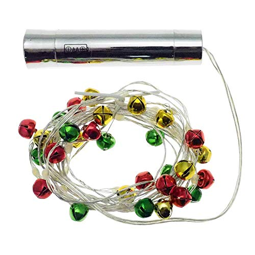 ECOBELLE® 2X LED String 3m/10ft Powered with AA Battery (not Included). Equipped with Multi Colour Bells Red, Yellow…