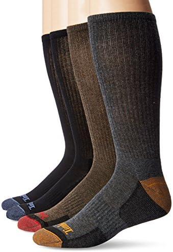 Timberland Comfort 4-Pack Crew Socks Black/Black/Brown/Grey LG (US Men's 9-12)
