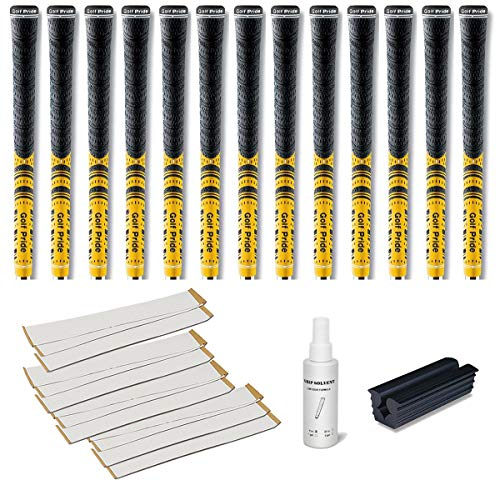 Golf Pride New Decade Multicompound (MCC) Yellow - 13 pc Golf Grip Kit (with Tape, Solvent, Vise -
