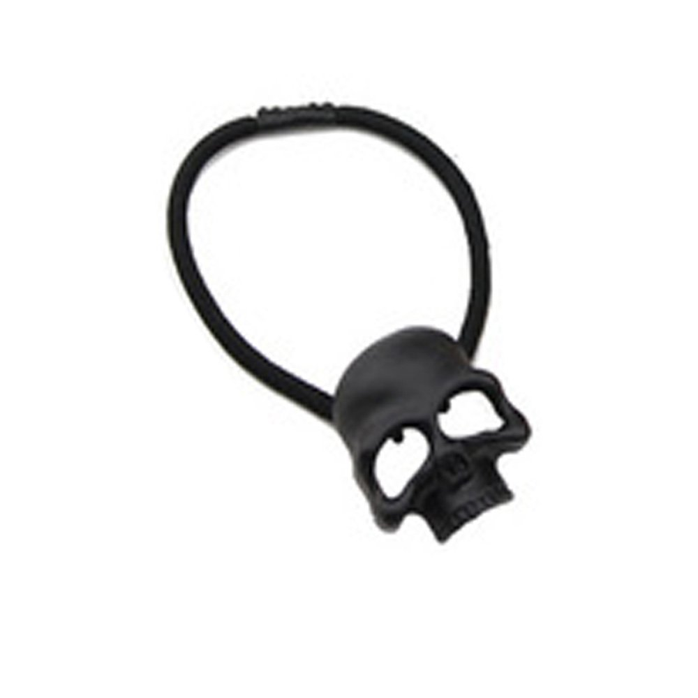 Women's Gril's Retro Punk Fashion Metallic 3D Skull HairBand Rope Tie Wrap Ponytail Holder Black