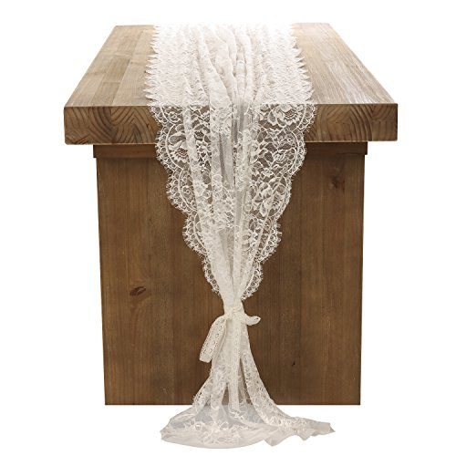 Ling's moment 32x120 Inches White Lace Table Runner Overlay Rustic Chic Wedding Reception Table Decor Boho Party Decoration Baby Bridal Shower -