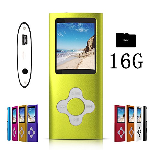 G.G.Martinsen Green Versatile MP3/MP4 Player with a 16GB Micro SD Card, Support Photo Viewer, Mini USB Port 1.8 LCD, Digital MP3 Player, MP4 Player, Video/Media/Music Player