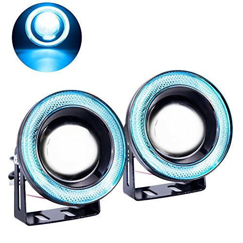 Car LED Fog Lights,Diaoaokiss Driving Fog Light Angel Eyes Halo Ring DRL Driving Bulbs 2pcs (3.5inch, Ice Blue)
