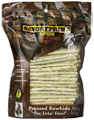 - Savory Prime 100 Count 5 Inch White Rawhide Twist Sticks  017