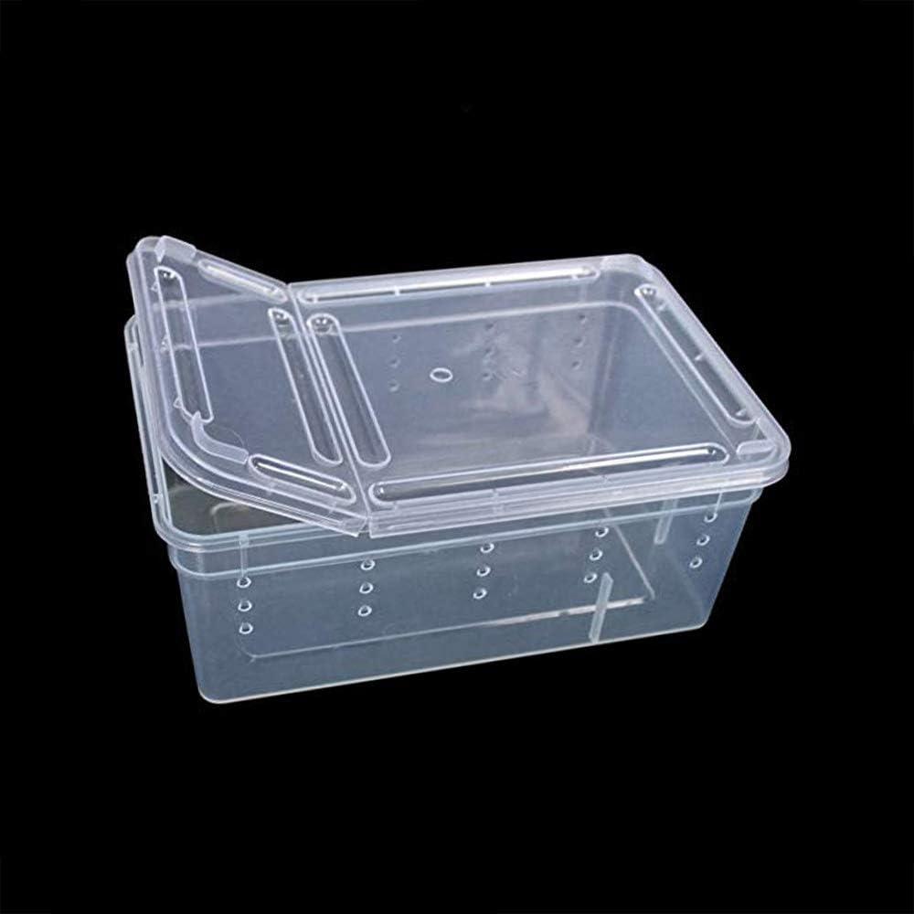 ZZM Reptile Tank Box, Portable Reptil Terrario Hábitat Jaula Transparente Plástico Ventilado Contenedor de alimentación Mini Pet Houses Pequeño Animal Breeding Box