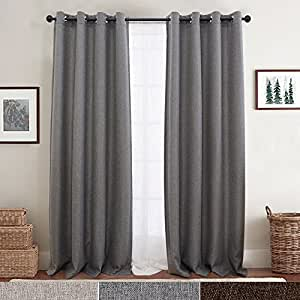 Linen Fabric Eyelet Curtains for Living Room Darkening Curtain Panels Blackout Drapes for Bedroom, 2 Panels 214CM Dark Grey