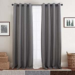 Linen Fabric Eyelet Curtains for Living Room Darkening Curtain Panels Blackout Drapes for Bedroom, 2 Panels 160CM Dark Grey