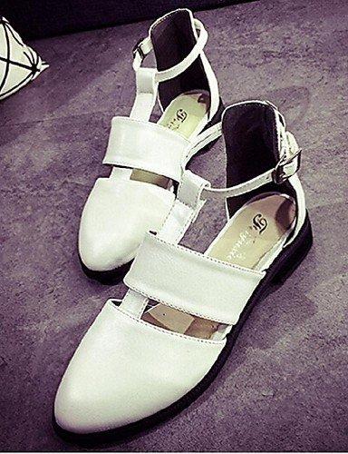 ShangYi Women's Shoes Flat Heel Gladiator/Open Toe Sandals Casual Black/White White Jtyiba4