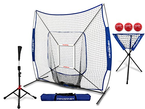PowerNet 7x7 DLX Practice Net + Deluxe Tee + Ball Caddy + 3 Pack Weighted Ball + Strike Zone Bundle (Royal Blue) | Baseball Softball Coach Pack | Pitching Batting Training Equipment Set | 7' x 7' -