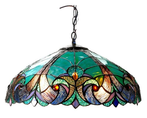 (Chloe Lighting CH18780VG18-DH2 Liaison Tiffany-Style Victorian 2-Light Ceiling Pendent with Shade, 8.5 x 18 x 18