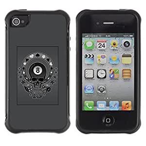 Be-Star Unique Pattern Anti-Skid Hybrid Impact Shockproof Case Cover For Apple iPhone 4 / iPhone 4S ( Grey Eight 8 Ball Skull Circus Poker ) Kimberly Kurzendoerfer