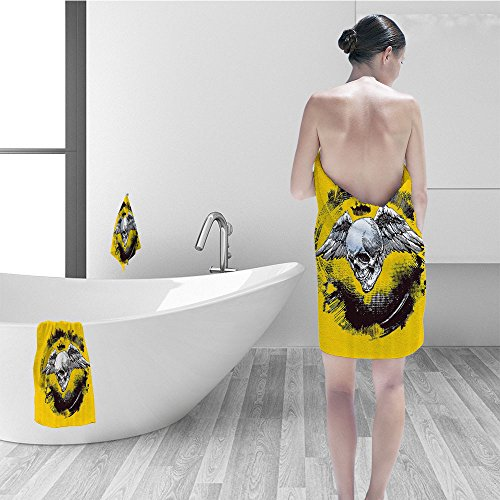 Nalahomeqq Hand towel set Tattoo Decor The Death Angel Crowned Skull Wide Magnificent Feather Wings Fabric Bathroom Decor Yellow Back and - Wing Tattoo Skull