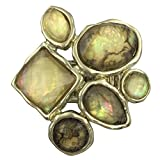 Large Abstract Foil Stones Statement Stretch Cocktail Ring (Ivory Brown Gold Tone)