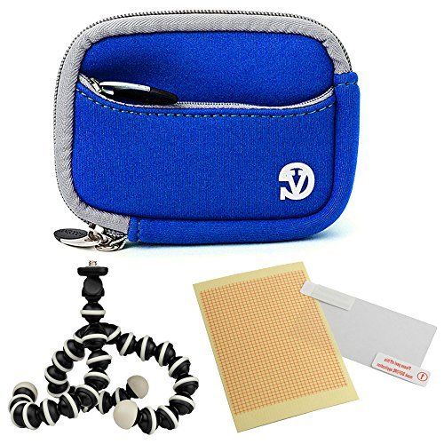 VanGoddy Mini Glove Sleeve Pouch Case for Leica C-LUX 3 V-Lux 20 Leica C (Typ112) Digital Cameras (Magic Blue) + Screen Protector + Mini Tripod Stand