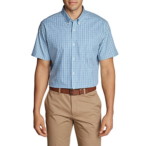 Eddie Bauer Men's Wrinkle-Free Relaxed Fit Short-Sleeve Pinpoint Oxford Shirt - (Pinpoint Shirt Fit Dress)
