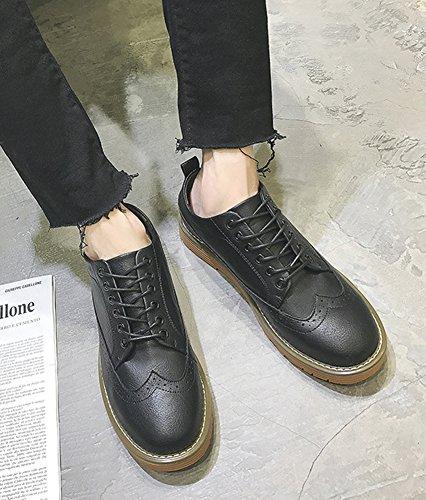 Aisun Homme Mode Bout Rond Basses Souliers à Lacets Derbies Noir w6llYf