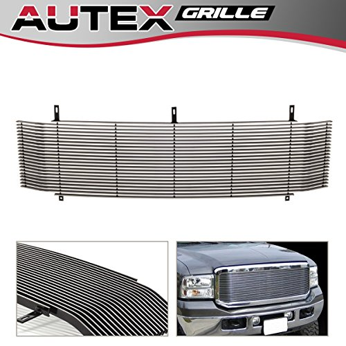AUTEX Aluminum Polished Horizontal Main Upper Billet Grille Compatible with Ford Excursion/F250/F350/F450/F550 Super Duty 1999 2000 2001 2002 2003 2004 Grill Grille Insert F85099A