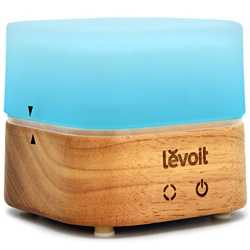 Levoit Essential Oil Diffuser, Aromatherapy Ultrasonic Cool Mist Aroma Diffusers with Changeable 7 LED Color Lights Waterless Auto Shut-off for Office Home Bedroom (120ml, Glass/Wood)