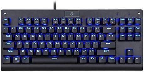 EagleTec KG040 Teclado mecánico para Juegos retroiluminado, interruptores Azules, construcción sólida y Duradera, Teclas retroiluminadas Azules ...