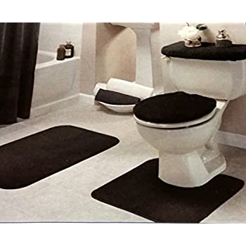 Amazoncom 4 Piece Bathroom Rug Set 3 Piece Burgundy