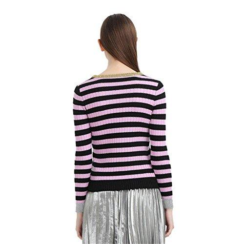 di di di manica femminile maglia rotondo lunga Cashmere Striscia xl xl xl collo moda 4qwd1nxxRp