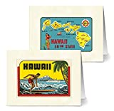 Vintage Hawaii - 36 Note Cards - 12 Designs - Blank Cards - Off-White Ivory Envelopes Included