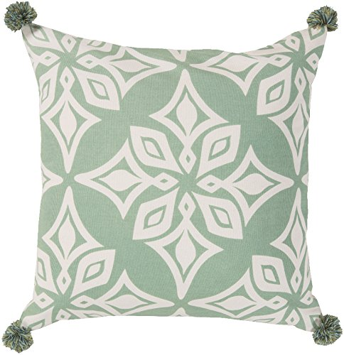 Surya Kate Spain KS002-2020D Down Fill Pillow, 20 by 20-Inch, Sea Foam by Surya