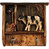 """Comfy Hour 7"""" Farm Animals Hand Carved Wooden Double Coat Hooks Clothes Rack Decorative Wall Hanger - Dairy Cattle"""