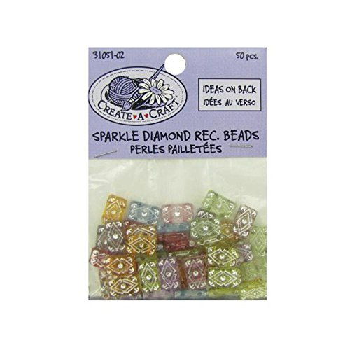 Sparkle diamond rectangle beads, pack of 50 - 24 Unit(s)
