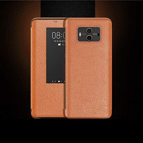 Weeksu Nueva Funda de Cuero con Tapa Horizontal de Grano Superior for Huawei P20, con función de Respuesta de Llamada y Reposo/activación (marrón) (Color : Brown)