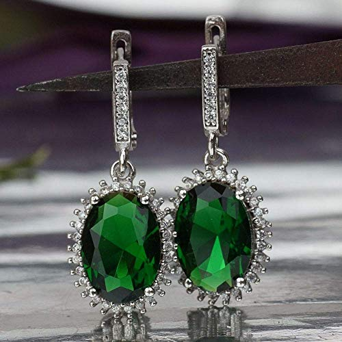 Turkish Sterling Silver Oval Chrome Diopside Dangle Earrings Victorian Style Jewelry