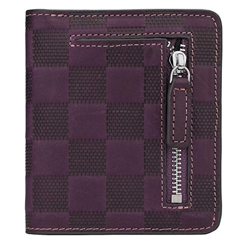 (RFID Blocking Wallet Women's Small Compact Bifold Leather Purse Front Pocket Mini Wallet (Checkered Purple))
