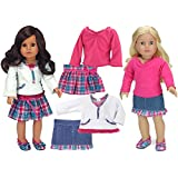 18 Inch Doll Clothing 4 Pc. Set Fits American Girl Dolls Clothes- of Hot Pink & Teal Plaid Doll Skirt Outfit + Denim Skirt W/Plaid Trim Doll Outfit