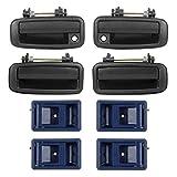 AUTEX 8pcs Door Handle (4pcs Blue Interior + 4pcs Black E...