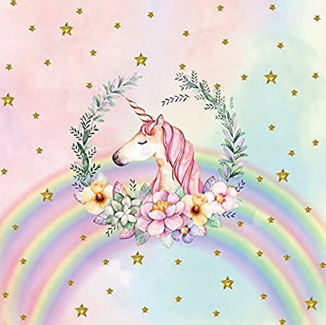 Lfeey 8x8ft Watercolor Unicorn Head Photo Backdrop Kids Birthday Party Events Babyroom Decoration Wallpaper Pastel Pink Glitter Stars Baby Shower