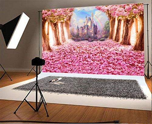 Yeele 7x5ft Cherry Blossom Petal Spring Sakura Castle Backdrop Wedding Bridal Shower Party Background for Photography Kids Adults Artistic Portrait Photo Booth Photoshoot Studio Props