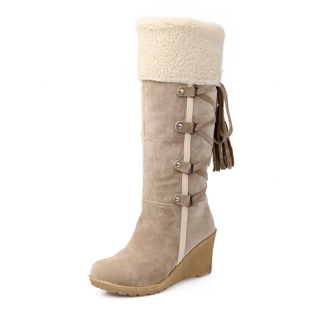 Gaslinyuan Frauen Fell gefütterte Stiefel Quaste große Keilabsatz Schuhe (Farbe   Beige, Größe   EU 43)
