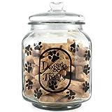 Housewares International Extra Large Clear Glass Dog Treats Jar with Glass Lid, Round, Saying Doggie Treats