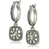 Antique Silver Tone Textured Square Howlite and Marcasite Lever Back Drop Earrings