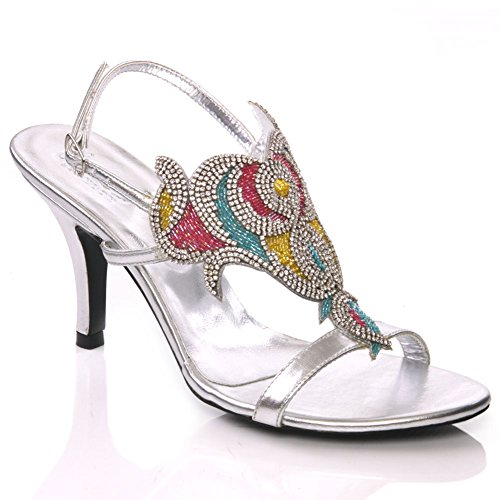 Unze Rubi' Womens Stiletto Heel Evening Party Bridal Sandals Buckle Closure - AB-1275.3