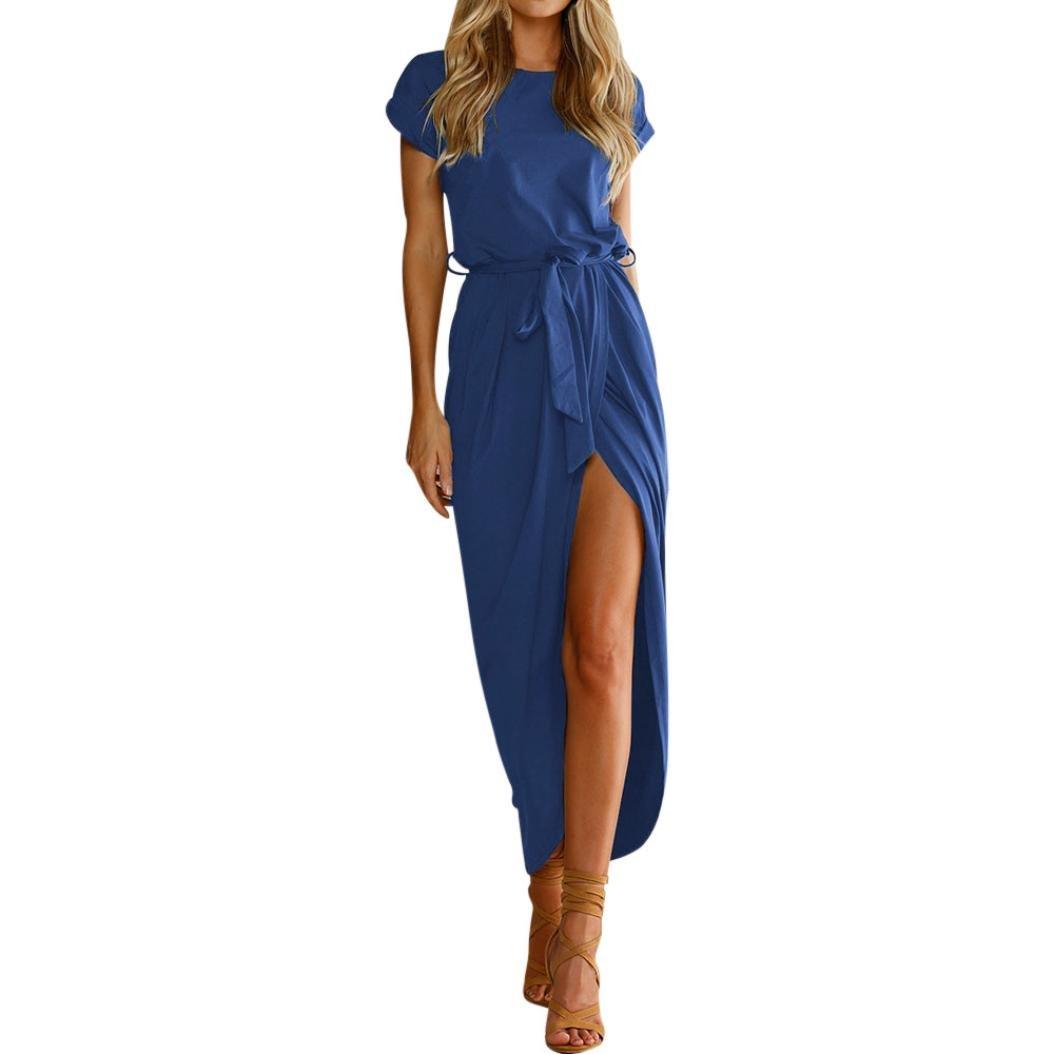 OOEOO Formal Dress, Women Boho Long Maxi Dress Evening Party Beach Split Sundress with Belt OLD189