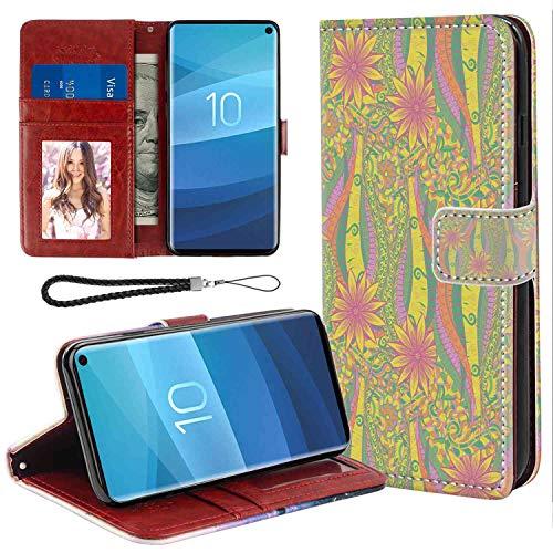 Wristlet Wallet Case Fits for Samsung Galaxy S10e (2019) 5.8 Inch Folio Case | Pastel Algae Sea Motif Curved Doodling Mehndi Design Vibrant Colors Ethnic Nature Ornament Multicolor