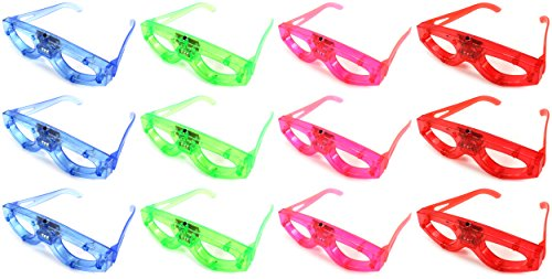 Set of 12 Flashing LED Multi Color Light Show Children's Kid's Light Up Toy Glasses (Colors May Vary)
