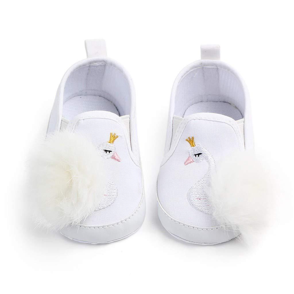 Efaster Newborn Toddler Baby Girls Swan Hairball Non-Slip Bottom Toddler Shoes Baby Shoes