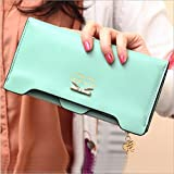 Lucky 2015 Hot Women Bow Wallets Elegant Mix Color Multifunctional Pu Leather Clutch Lady Purse Phone Bag Free Shipping Carteira Feminina--sky Blue