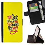 SKCASE Center / Flip Wallet PU Leather Case Cover for Sony Xperia Z1 L39 / Yellow Funky Text Inspiring Message