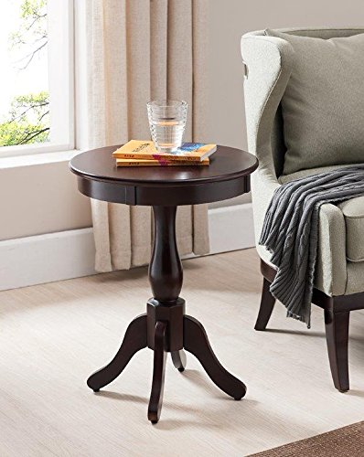 Kings Brand Furniture Cherry Finish Wood Round Pedestal Side Accent Table (Table Pedestal Small)