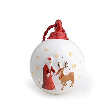 Addobbi Natalizi Hervit.Hervit Sfera Pallina Natalizia In Porcellana Decoro Christmas 7x9 5