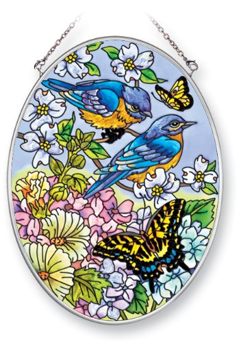 (Amia Suncatcher with Bluebird and Butterfly Design, Hand Painted Glass, 7-Inch by 5-1/4-Inch Oval Design)