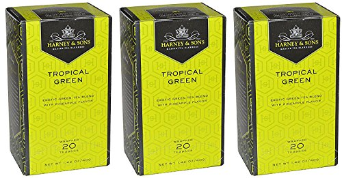 Harney & Sons Tropical Green Tea - Box of 20 Teabags (Pack of 3) Exotic Green Tea with Pineapple